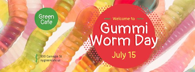 Gummi worm candy Day Facebook coverデザインテンプレート