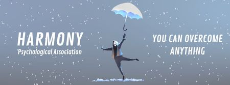 Designvorlage Man jumping with umbrella für Facebook Video cover