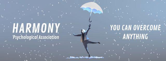 Modèle de visuel Man jumping with umbrella - Facebook Video cover