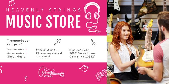 Music Store Offer with Female Consultant Twitter Design Template