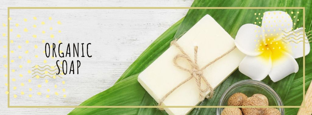 Natural soap bar with Flower Facebook cover – шаблон для дизайна