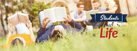 Plantilla de diseño de Students reading Books on grass Facebook cover