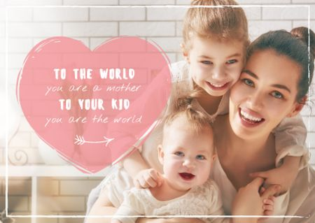 Template di design Mother with kids on Mother's Day Postcard