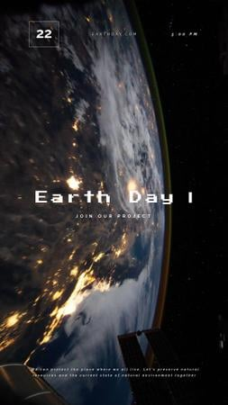Earth Day Planet View from Space Instagram Video Story Modelo de Design
