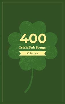 Irish Songs Collection Green Four-Leaf Clover | eBook Template