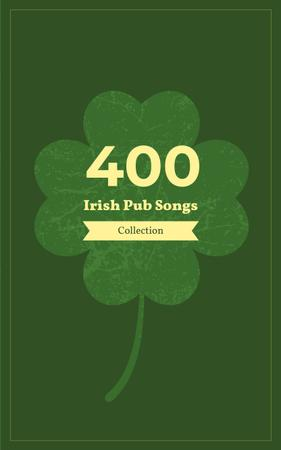 Ontwerpsjabloon van Book Cover van Irish Songs Collection Green Four-Leaf Clover
