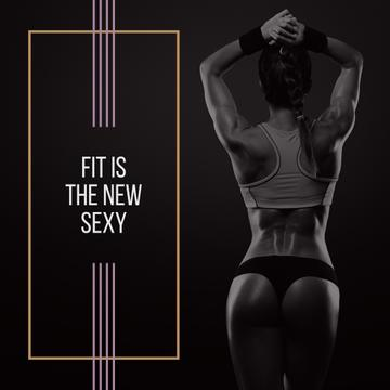 Fit is new sexy poster with sporty young woman