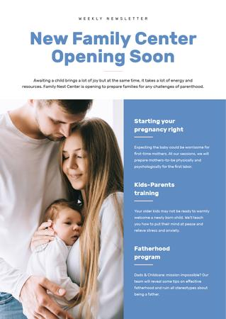 Family Center Opening Ad Newsletter Modelo de Design