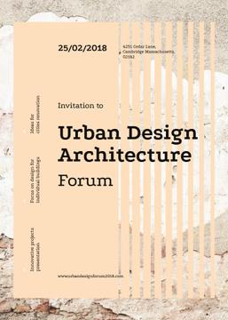 Urban design forum ad on Beige concrete wall