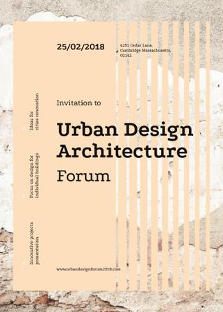 Plantilla de diseño de Urban design forum ad on Beige concrete wall Invitation