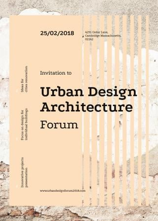 Urban design forum ad on Beige concrete wall Invitation Tasarım Şablonu