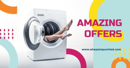 Female Legs in Washing Machine Facebook AD – шаблон для дизайну