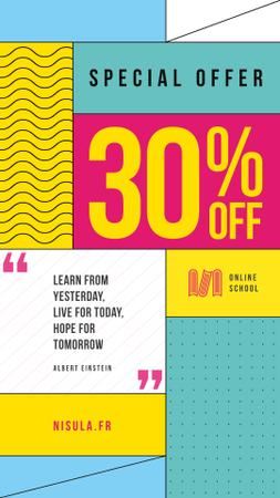 Education Quote on Simple Geometric Background Instagram Story Modelo de Design