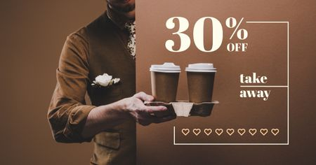 Template di design Man holding Coffee To-go Facebook AD
