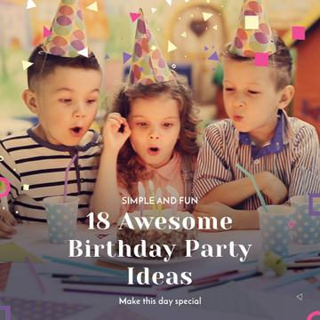 Birthday Party Organization Kids Blowing Cake Candles | Square Video Template