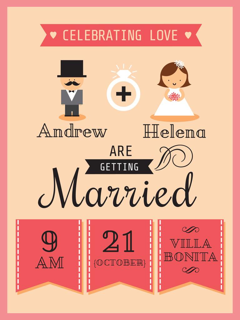 Wedding Invitation with Groom and Bride Poster in Pink — Crea un design