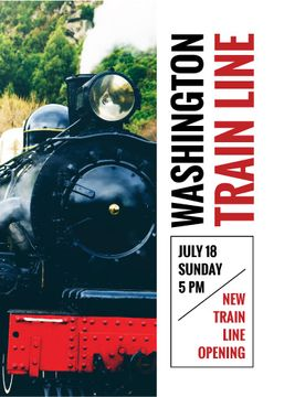 Train Line Opening Vintage Locomotive | Flyer Template