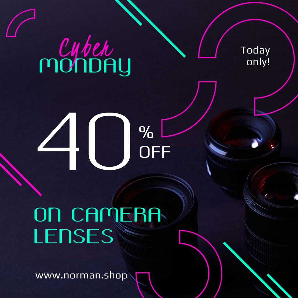 Cyber Monday Sale Camera Lenses in Black Instagram Design Template