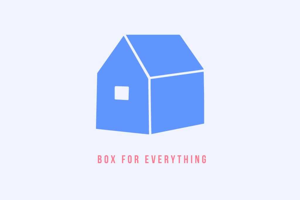 Box company ad with House icon — ein Design erstellen