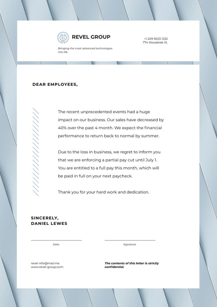 Business Company's Results and Salary Information Letterhead Design Template