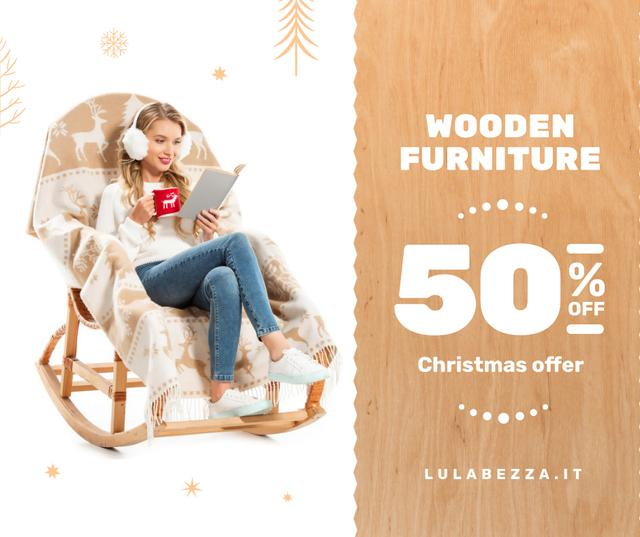 Designvorlage Furniture offer Girl in Christmas Sweater Reading für Facebook