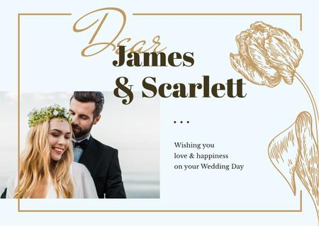 Modèle de visuel Happy newlyweds on wedding day - Card
