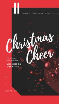 Christmas Greeting Shiny Decorations in Red | Stories Template