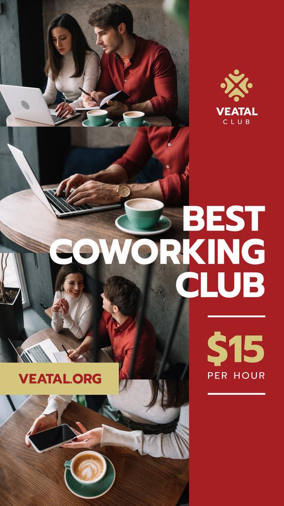 Coworking Space Offer Business Team with Laptop — Maak een ontwerp