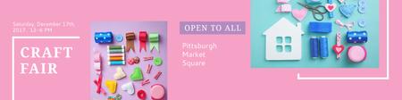 Craft fair Announcement on pink Twitter Design Template