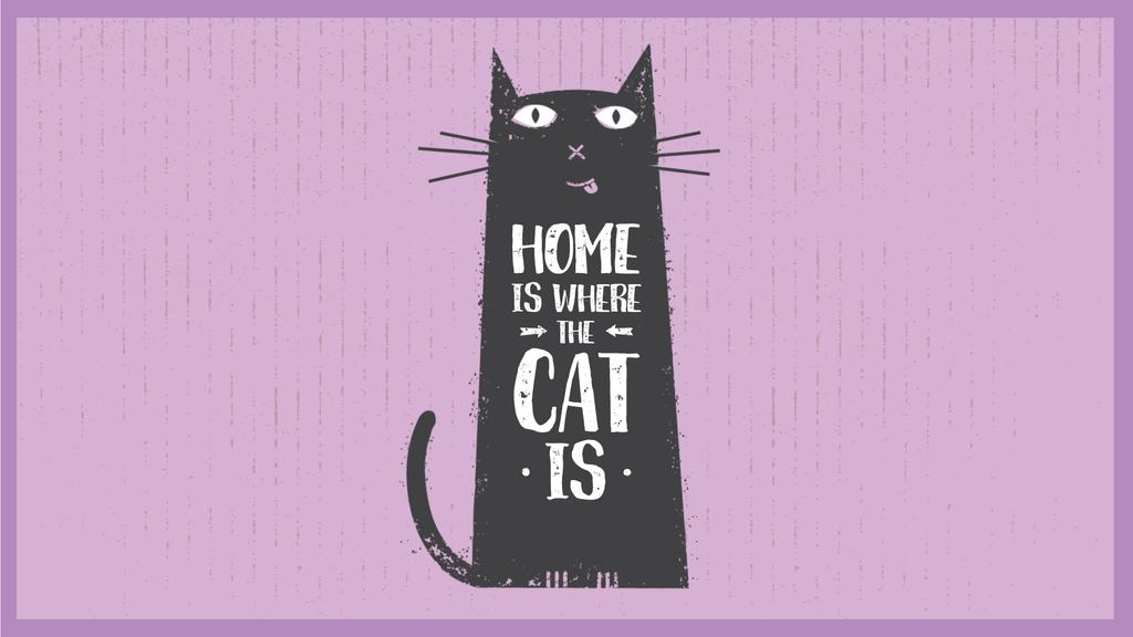 Funny Black Cat Purple Background | Full Hd Video Template — Maak een ontwerp