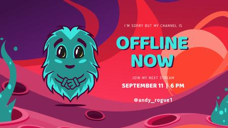 Ontwerpsjabloon van Twitch Offline Banner van Game Stream Ad with Cute little Monster