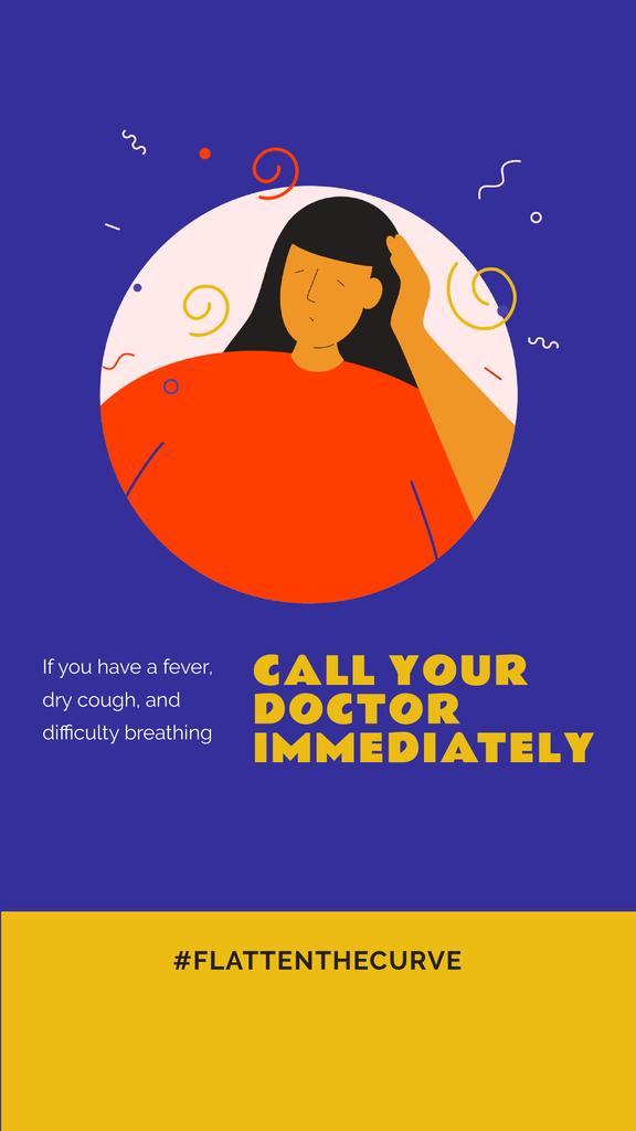 #FlattenTheCurve Coronavirus symptoms with Ill Woman — Crear un diseño