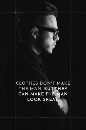 Modèle de visuel Fashion Quote Businessman Wearing Suit in Black and White - Tumblr