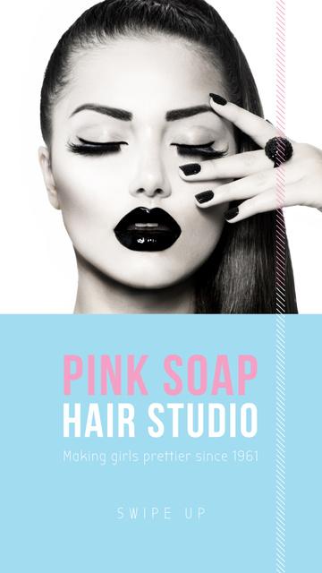 Hair Studio Offer with Girl in bright makeup Instagram Story Tasarım Şablonu