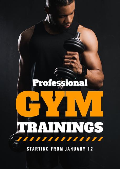 Gym Promotion Man Lifting Dumbbell Flayer Modelo de Design