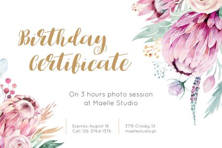 Photo Session Offer with Tender Watercolor Flowers Gift Certificate Tasarım Şablonu