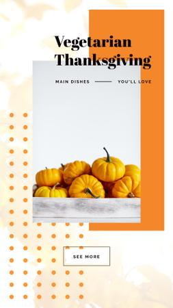 Plantilla de diseño de Thanksgiving Menu Yellow small Pumpkins Instagram Video Story
