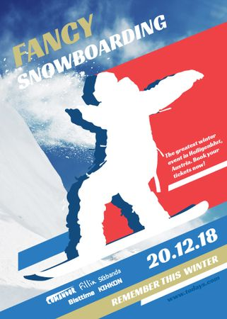 Snowboard Event announcement Man riding in Snowy Mountains Invitation Modelo de Design