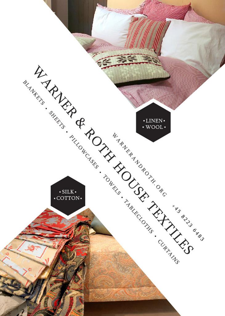 Home Textiles Ad Pillows on Sofa Invitation Design Template