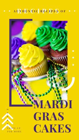 Ontwerpsjabloon van Instagram Story van Mardi Gras cupcakes
