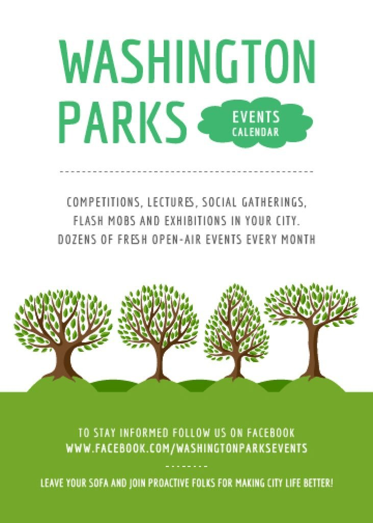Park Event Announcement Green Trees — Modelo de projeto