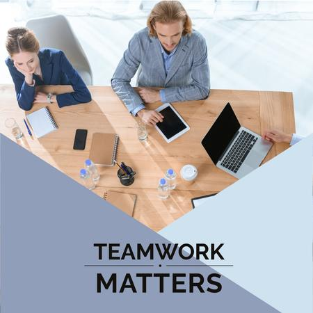 Teamwork Concept Colleagues Working in Office Instagram Design Template