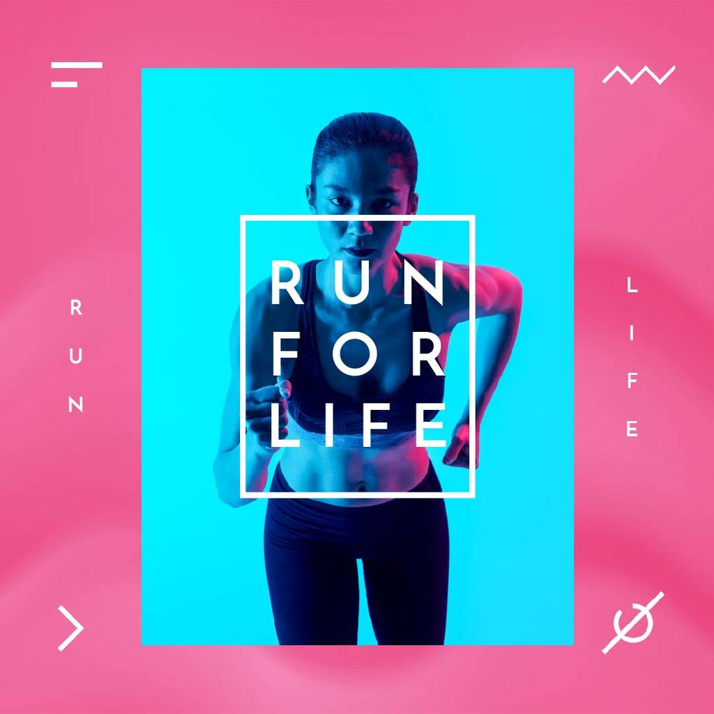 Running Club Ad with Woman Runner in Neon Light – Stwórz projekt