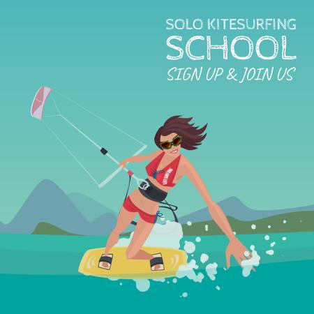 Ontwerpsjabloon van Animated Post van Active woman kiteboarding