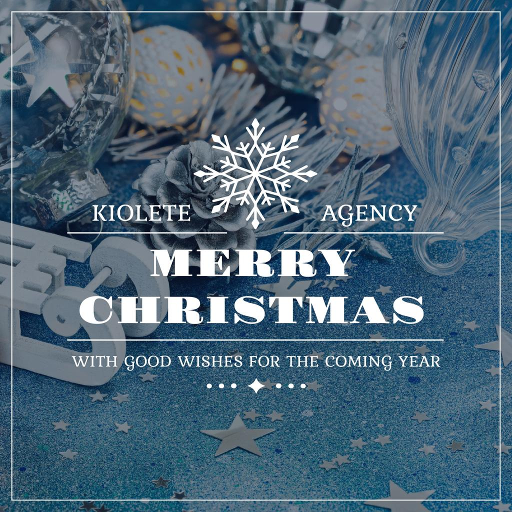 Christmas Greeting Shiny Decorations in Blue — Create a Design