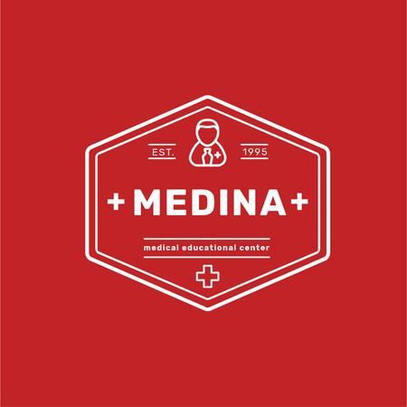 Medical Education Center with Cross Icon Logo Modelo de Design
