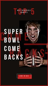 Super Bowl Annoucement with American football player with ball