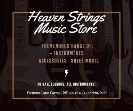Plantilla de diseño de Heaven Strings Music Store Medium Rectangle