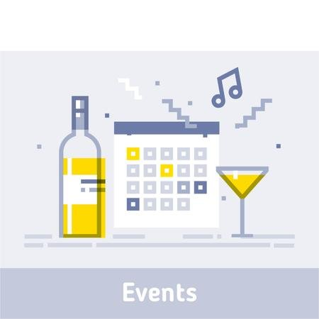 Calendar and champagne icons Animated Post Modelo de Design