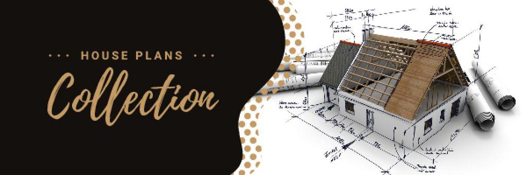 Ontwerpsjabloon van Email header van Architectural Prints and House Model on Table